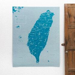 義大利設計  旅人羊毛氈台灣地圖 我們的故鄉 寶島 (海洋藍) 兒童房 書房佈置 旅行地圖  布地圖