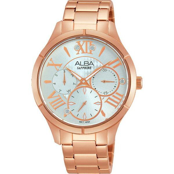 ALBA VD75-X093O(AP6444X1)玫瑰金羅馬晶鑽時尚腕錶/白面36mm