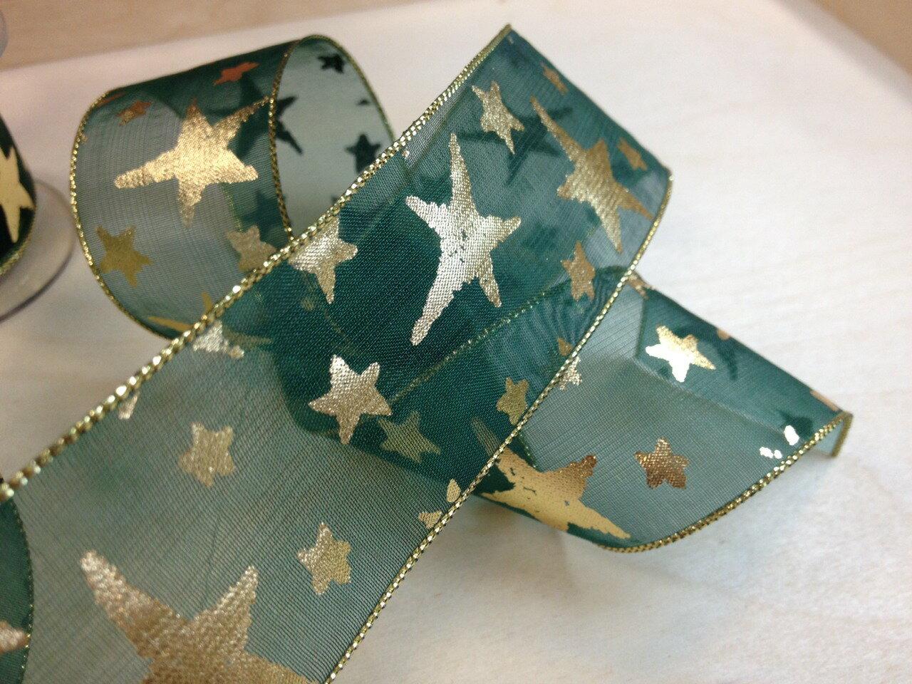網紗緞帶-聖誕彩色星星 38mm 3碼裝 (5色) 3