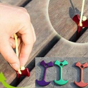 美麗大街【CF112】 出口韓國鋁合金木板夾露營場帳篷天幕配件傘繩固定扣魚骨釘風繩扣(10入)
