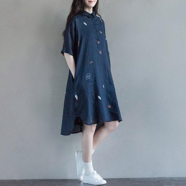 *漂亮小媽咪*魅力女孩童趣印花文藝襯衫長版洋裝連身裙襯衫領孕婦裝D7213