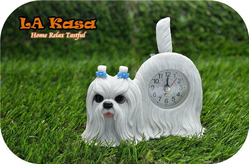 La Kasa~ 仿真可愛動物療癒系列-擺尾桌上時計-馬爾濟斯
