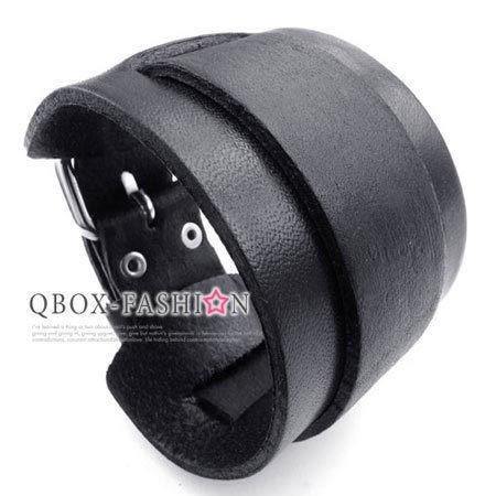 ~ QBOX ~FASHION 飾品~W10023067~精緻 黑色簡約厚實寬版皮革手鍊