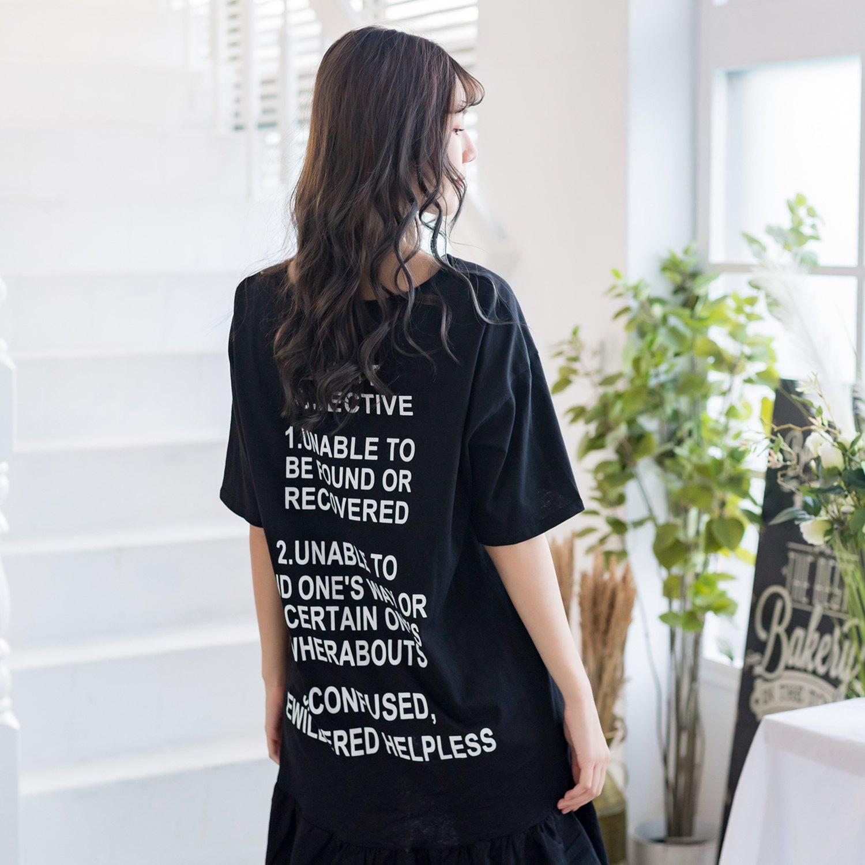連身裙--時尚舒適字母印花寬鬆修身魚尾裙圓領短袖長版上衣(黑XL-4L)-U533眼圈熊中大尺碼 0
