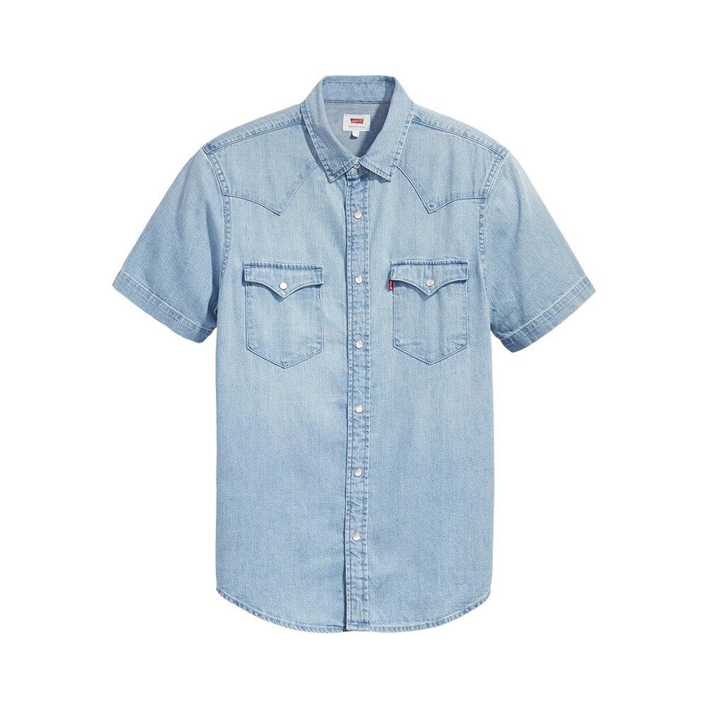 Levis 男款 短袖牛仔襯衫 / 休閒版型 / 淺藍水洗 / 經典雙口袋-CO