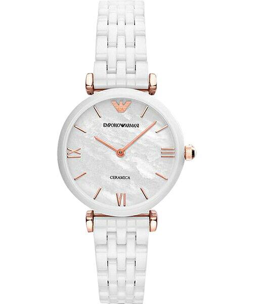 EMPORIO ARMANI/AR1486亮麗薄白陶腕錶/貝殼面32mm