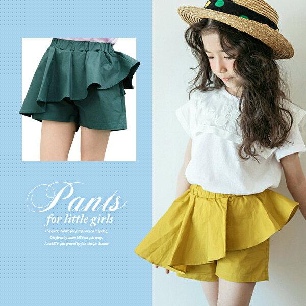 簡約斜波浪素色短褲裙0529(黃褲綠褲)【K49013】