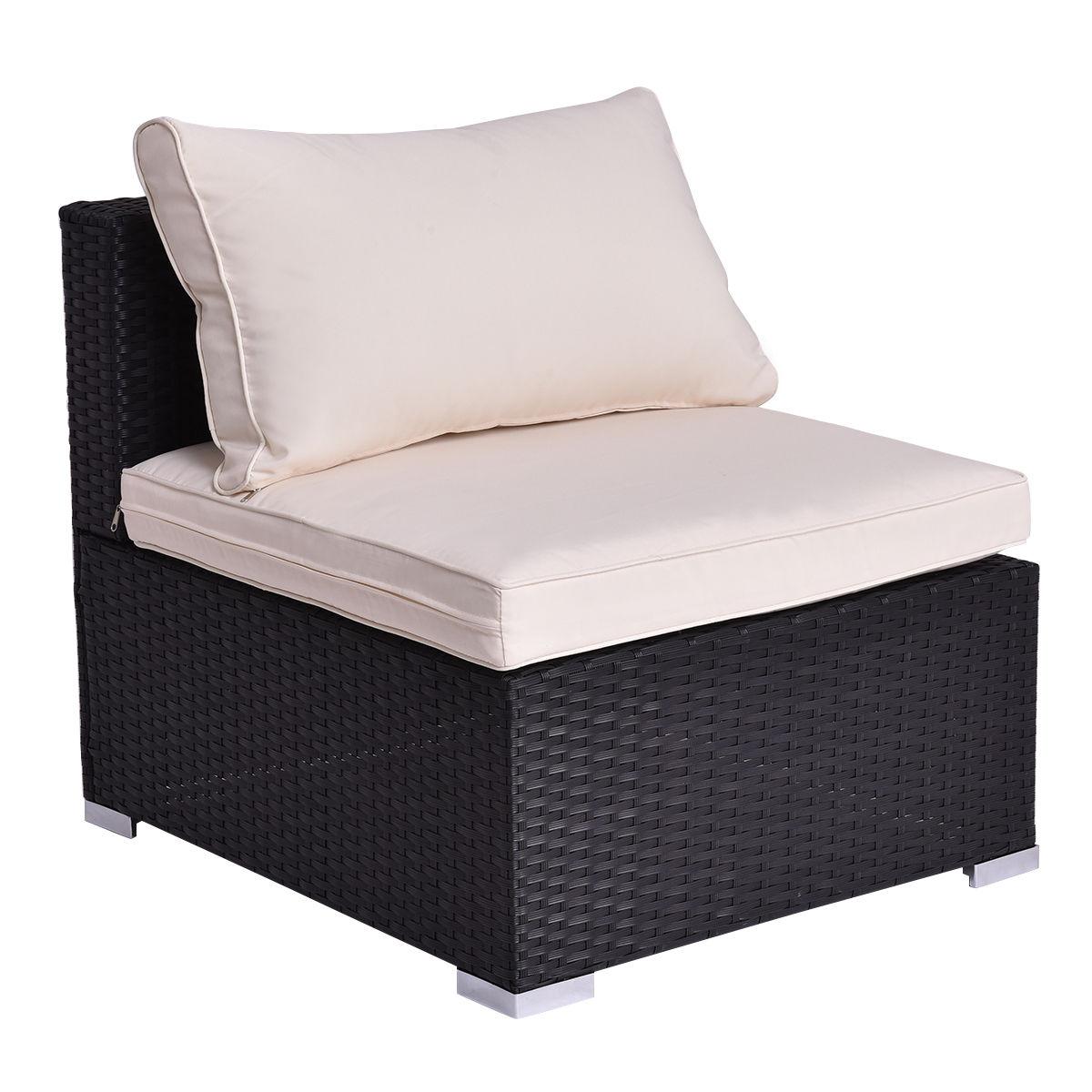 Costway Black Outdoor Patio Rattan Furniture Set Infinitely Combination  Cushion Wicker 4