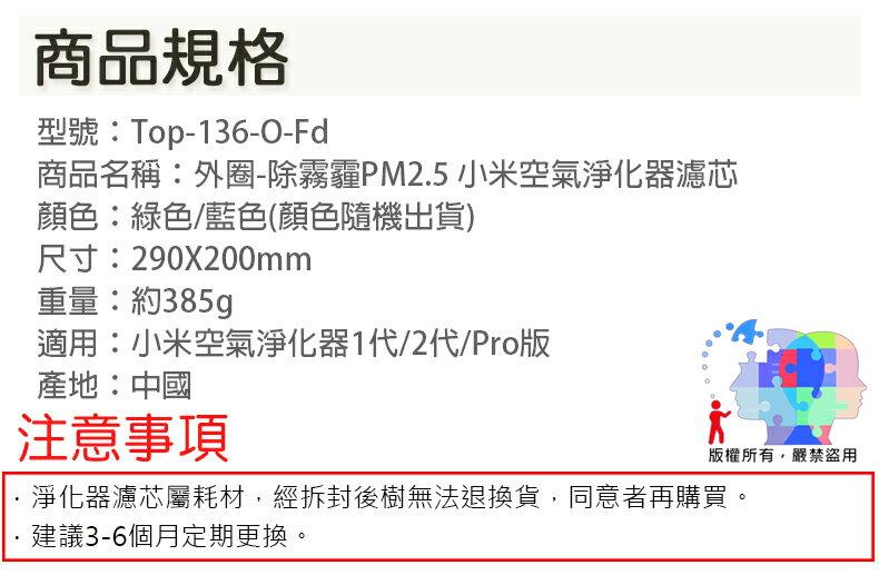 【小米淨化器外圈濾芯】初效濾網 HEPA濾網 過濾 顆粒物 PM2.5 PM0.3 花粉 空汙 Top-136-O-Fd 8