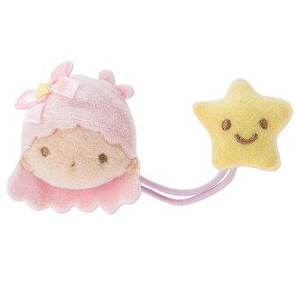 【真愛日本】16061500028造型絨毛髮束-LaLa粉星星黃  三麗鷗家族 Kikilala 雙子星  髮圈 生活用品 美妝