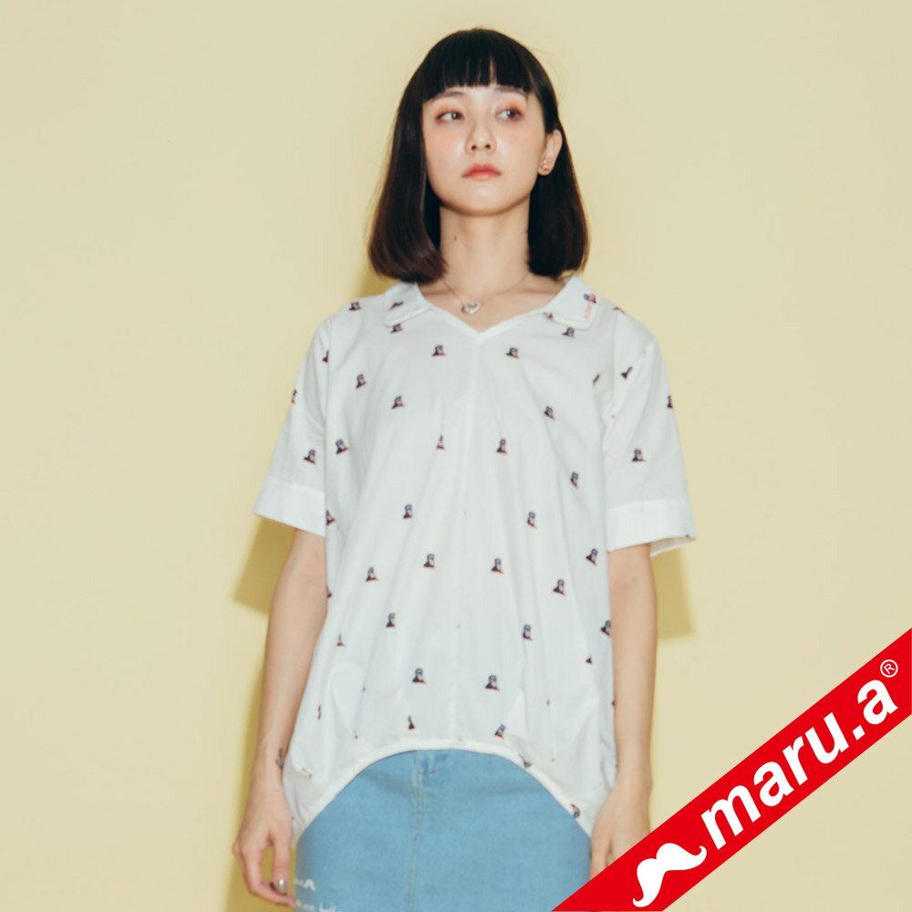 【maru.a】領子刺繡滿版印花襯衫(2色)8323118 3