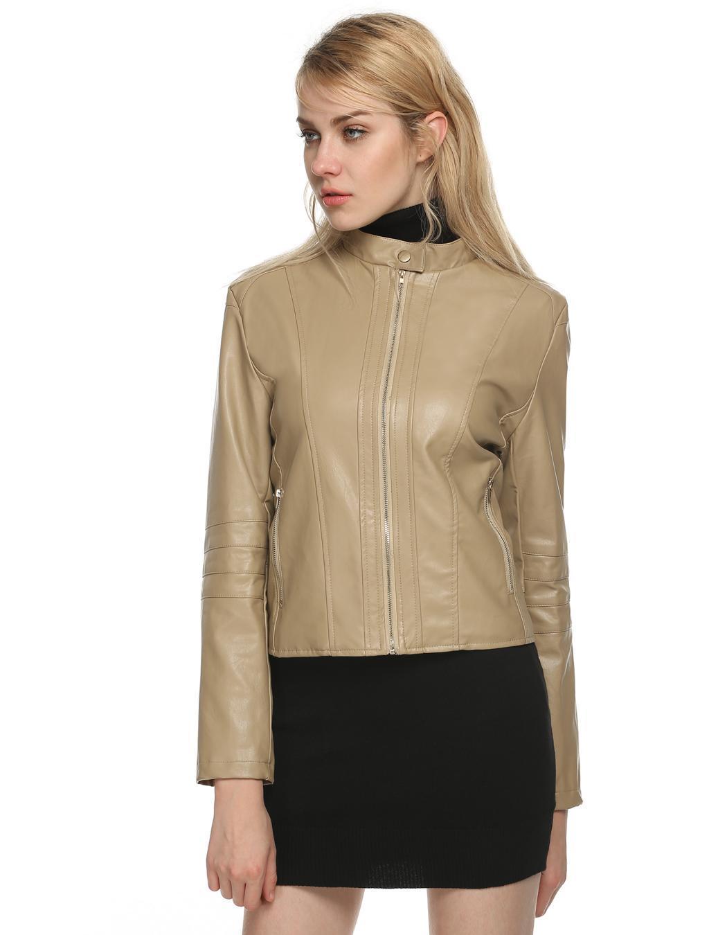 Women Long Sleeve Synthetic Leather Casual Bike Jacket Short Coat 2