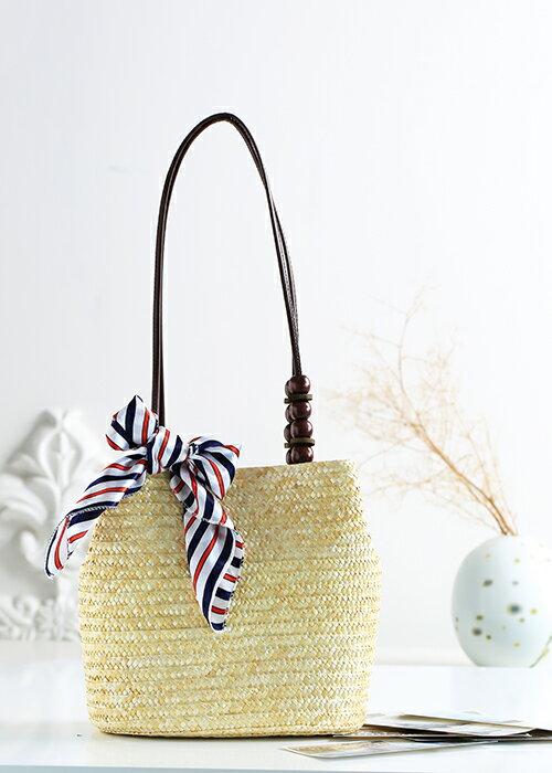 【RS Home】藤編包海灘包側肩包側背包渡假包島嶼時尚包圓桶包磁扣包藤編包 5