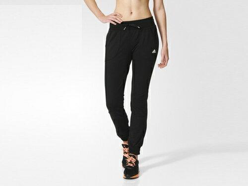 [尋寶趣] ADIDAS 女 休閒 運動 棉質 縮口長褲 黑 AY3629