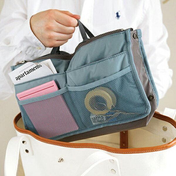 PS Mall 韓版防水雙拉式多功能收納包 包中包  文具袋 化妝包 旅行袋 雜物袋 物件袋【J597】