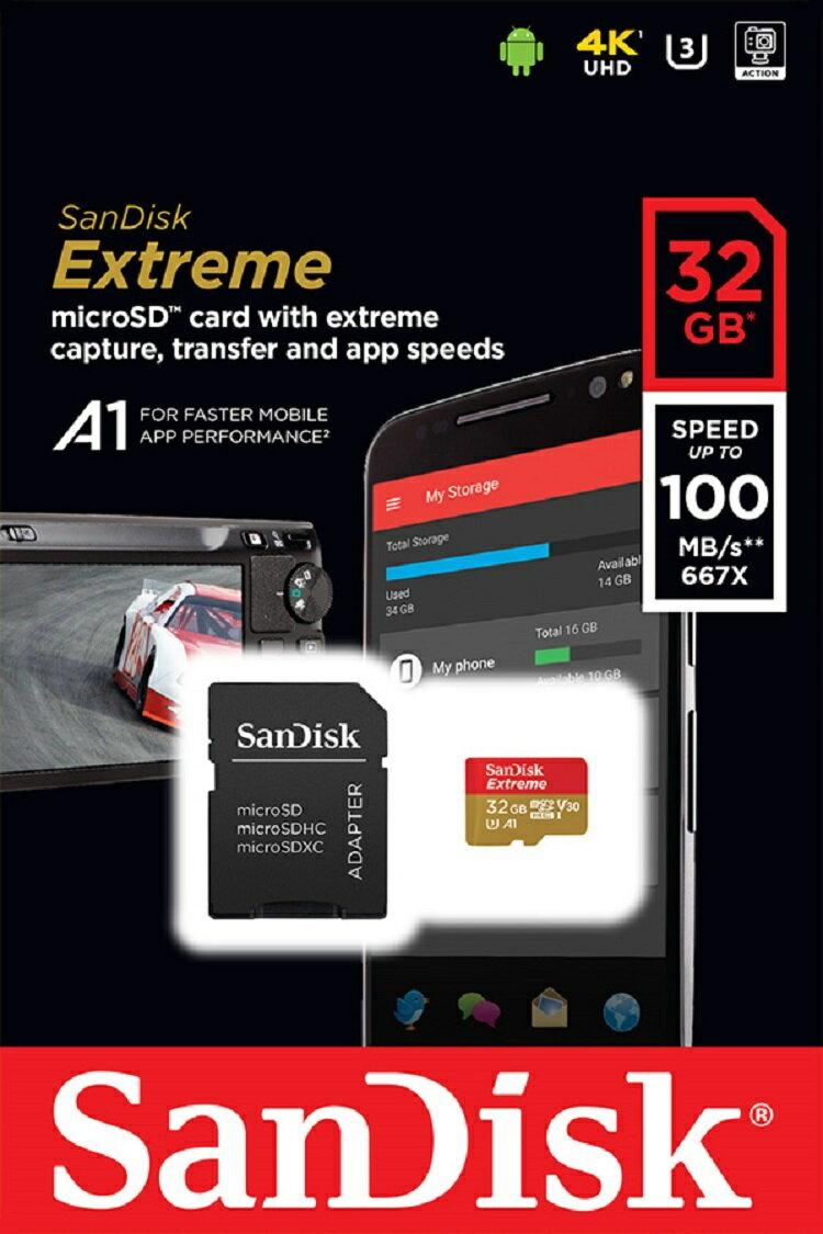 SanDisk Extreme 32GB microSDHC 100MB/s A1 Class10 C10 U3 UHS-I 4K V30 667X 32G microSD micro SD SDHC Flash Memory Card SDSQXAF-032G + OEM microUSB 2.0 OTG Reader 1