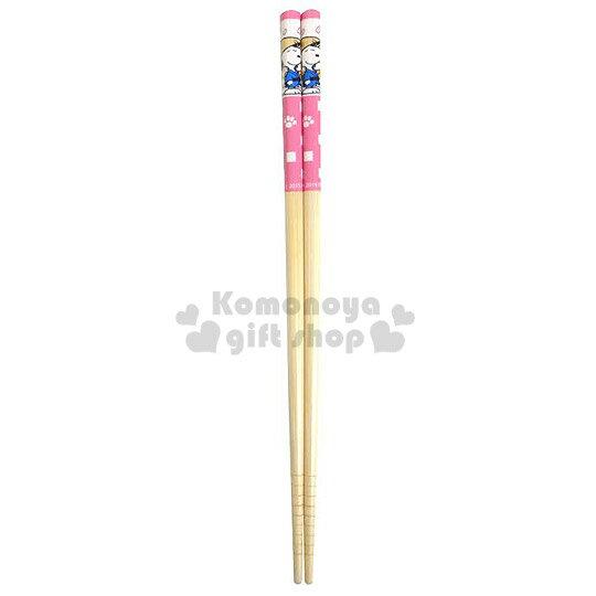 〔小禮堂〕史努比 料理竹筷組《1組2入.粉格子.戴斗笠.21cm》前端止滑設計