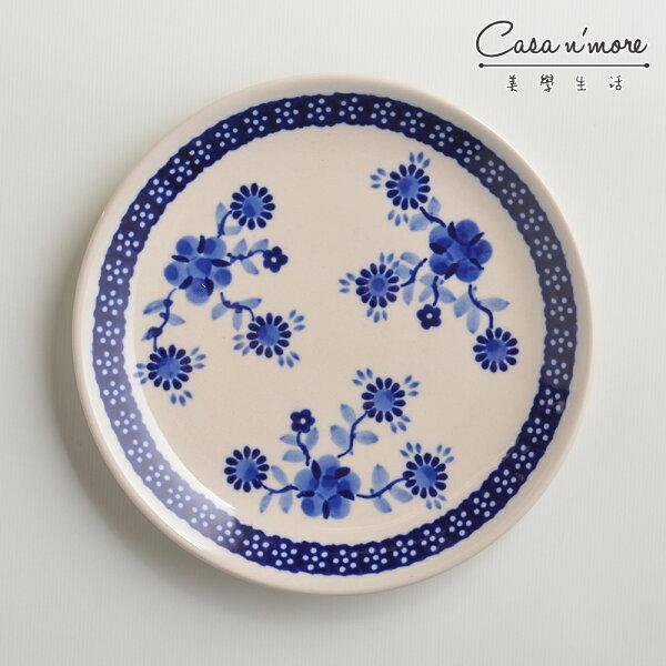 波蘭陶歐式青花系列淺底圓形餐盤陶瓷盤菜盤點心盤圓盤沙拉盤19cm波蘭手工製