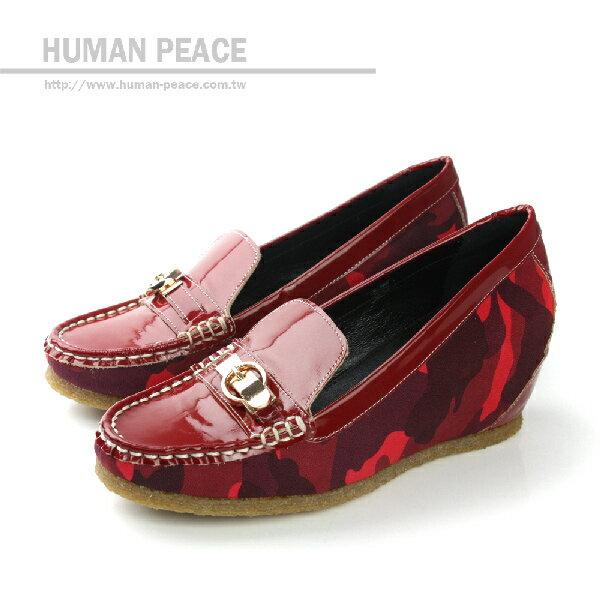 HUMAN PEACE 皮革 舒適 迷彩 內增高 戶外休閒鞋 紅色 女鞋 no329