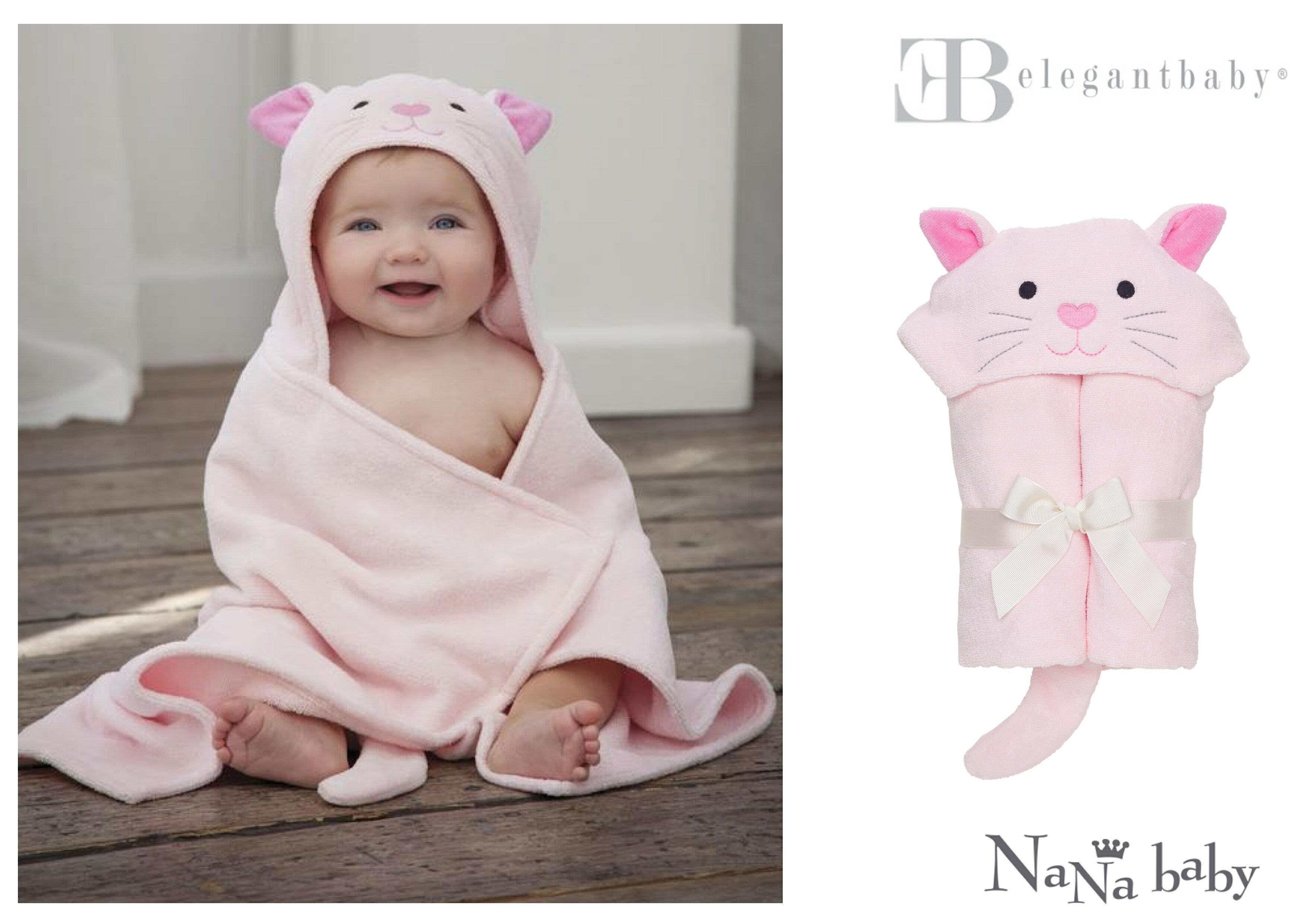 【美國Elegant Baby】動物造型連帽浴巾- 粉紅貓咪 #79574