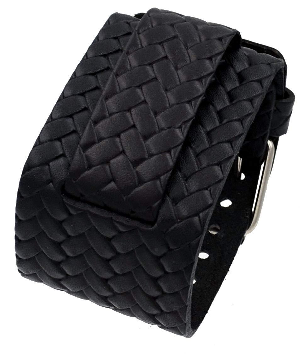 1b1177daf0f95 Nemesis BD-K 24mm Lug Width Weave Pattern Wide Black Leather Cuff Wrist  Watch Band