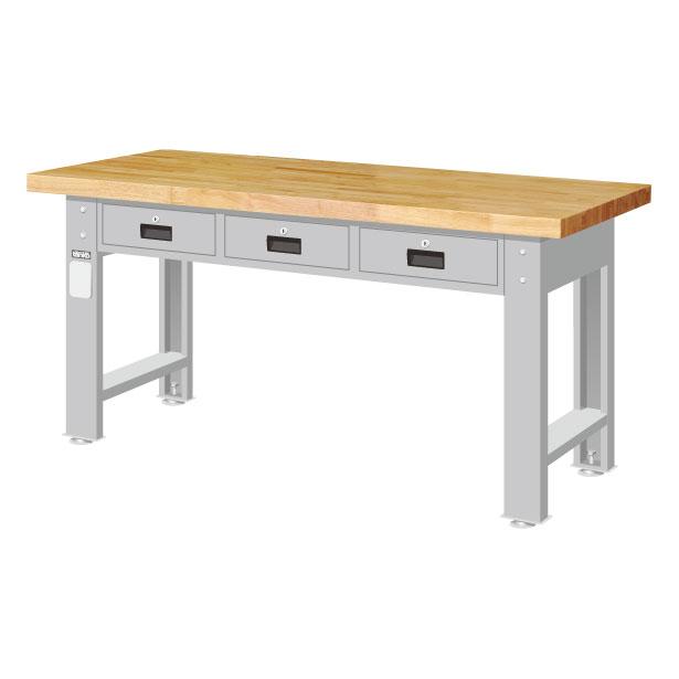 橫三抽屜工作桌 原木桌板 重型桌 耐重桌 實驗桌 工作檯 工作台 工廠作業桌 鑄造造模工作桌  高荷重型桌 長度1500/1800 mm二種尺寸選擇【可力爾】 0