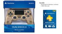 Playstation Bundle - Gold:  DualShock 4 Wireless Controller for PlayStation 4 - Gold + PlayStation PLUS 1 YEAR (12 Month) Gamecard