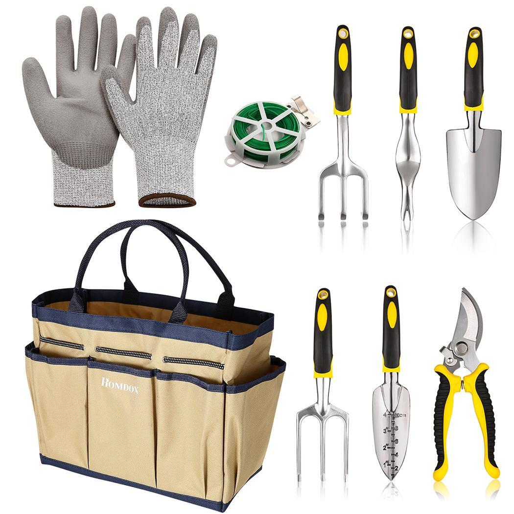 6 Heavy Cast Aluminum Heads with Garden Tote 9 Pieces Garden Tool Sets and glove 1