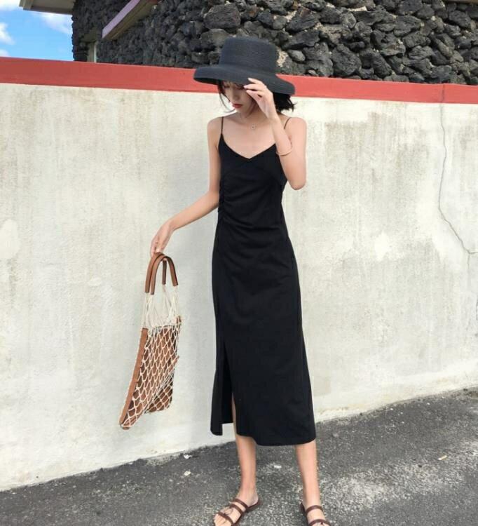 洋裝 泰國海邊度假風小黑裙v領露背吊帶裙顯瘦性感沙灘長裙海灘洋裝