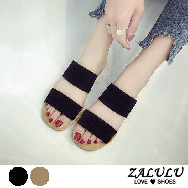 ZALULU愛鞋館7EE066預購簡約日系鄰家女孩平底拖鞋-米白黑-35-39