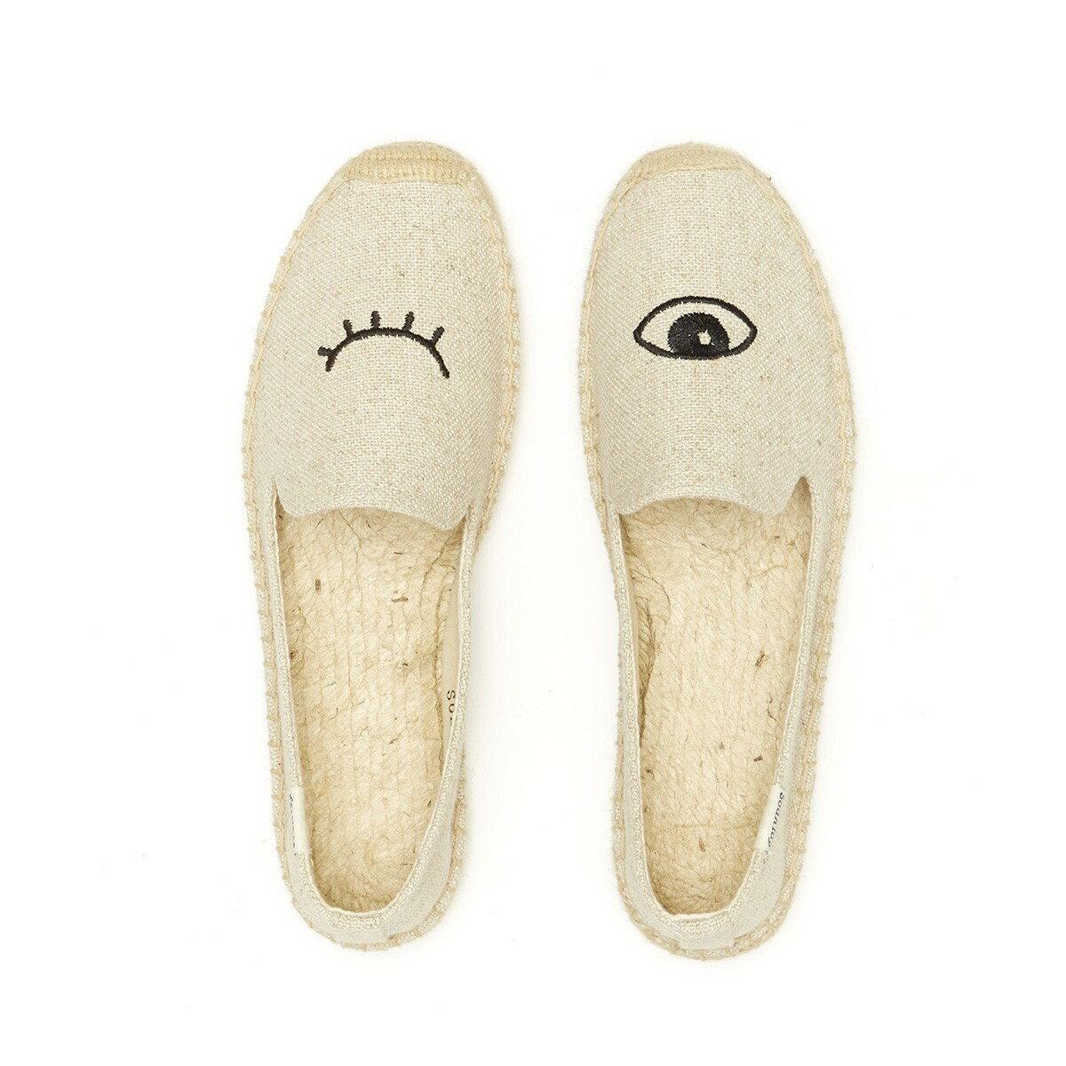 【Soludos】美國經典草編鞋-塗鴉系列草編鞋-米色眨眼 2