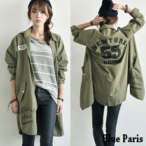 外套 韓版個性風字母印花長板軍綠長版外套 風衣外套【28080】Blue Paris
