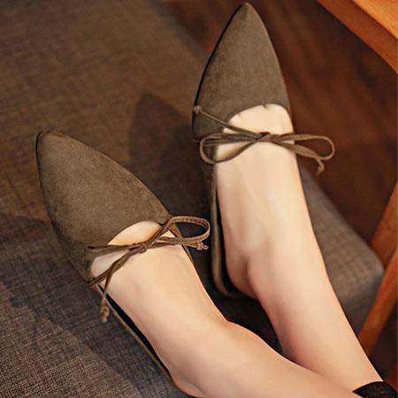 拖鞋 隨興蝴蝶結綁帶尖頭懶人鞋【S1579】☆雙兒網☆ 4