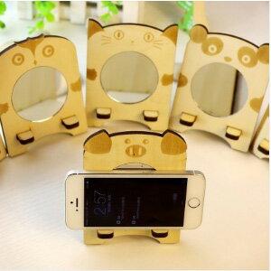 美麗大街【BF241E13E1】可愛動物造型附鏡子木質手機座 (不挑款)