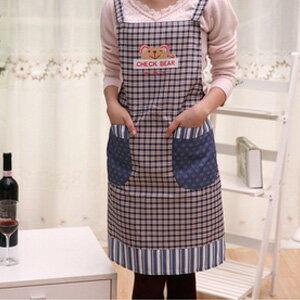 美麗大街【BF583E13】韓版可愛小熊吊帶式格子圍裙
