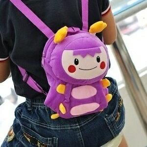 美麗大街【S101060701】可愛紫色MOMO毛蟲兒童後背包