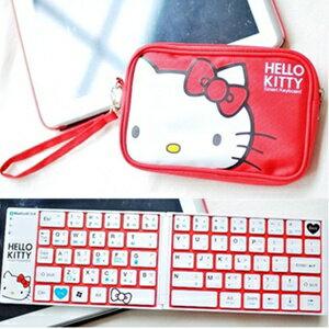 美麗大街【S102011010】可愛HELLOKITTY無線藍牙摺疊式鍵盤含收納包