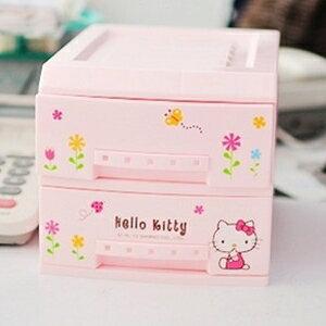 美麗大街【S102012405】HELLO KITTY 粉色雙層抽屜式桌面置物櫃