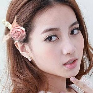 美麗大街【E1146】玫瑰花珍珠蝴蝶結髮飾髮夾
