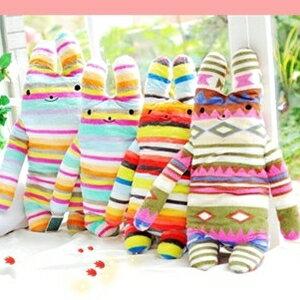 美麗大街【S102032808】條紋幾何造型長抱兔動物抱枕玩偶