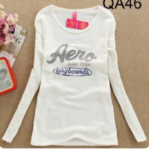 美麗大街【XJQA46】流行印花系列Aero圓領長版棉T長袖上衣