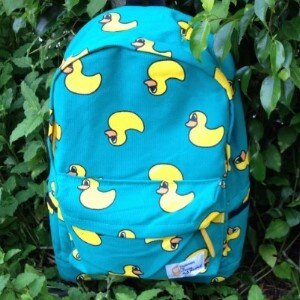 美麗大街~BG006~黃色小鴨印花雙肩背後背包 背包
