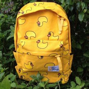 美麗大街【BG007】黃色小鴨印花雙肩背後背包運動背包