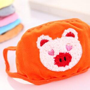 美麗大街【BFE31E2E6】可愛卡通小豬款兒童雙層保暖防塵兒童口罩