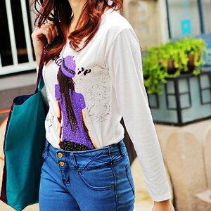美麗大街~102111210~ 印花系列紫色短裙女孩圓領長版棉T長袖上衣