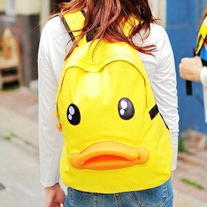 美麗大街~102111229~黃色小鴨立體嘴巴雙肩背包 背包