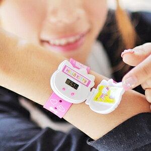 美麗大街【102112222】HELLO KITTY電子掀蓋可拆錶帶手錶