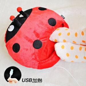 美麗大街【102112915】瓢蟲造型USB加熱暖腳寶 室內拖鞋