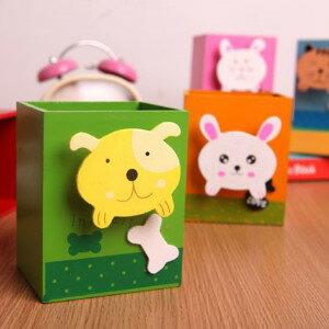 美麗大街【BFE19E2E8】學習用品 創意動物 木質卡通筆筒小物收納桶