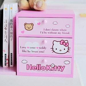 美麗大街【103062206】Hello Kitty粉色熊熊雲朵三層抽屜抽納書架木製收納櫃 置物櫃 桌上收納盒